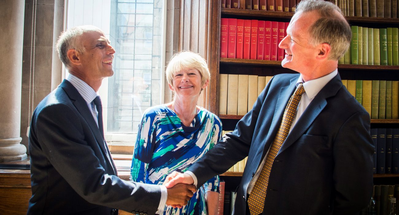 Professor Withers, Dame Nancy Rothwell, and John Penrose MP. Photo: University of Manchester