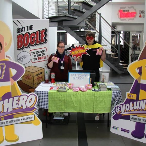 The superhero themed photo booth in the Students' Union Foyer this Monday Fun Day. Photo: University of Manchester Students' Union