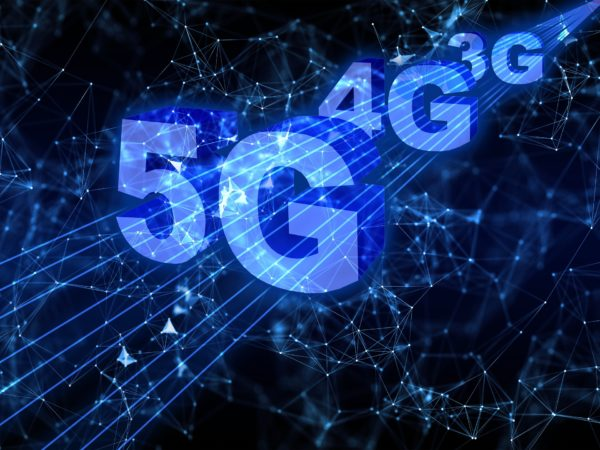 Black background showing 5G, 4G and 3G words appearing as a blue beam