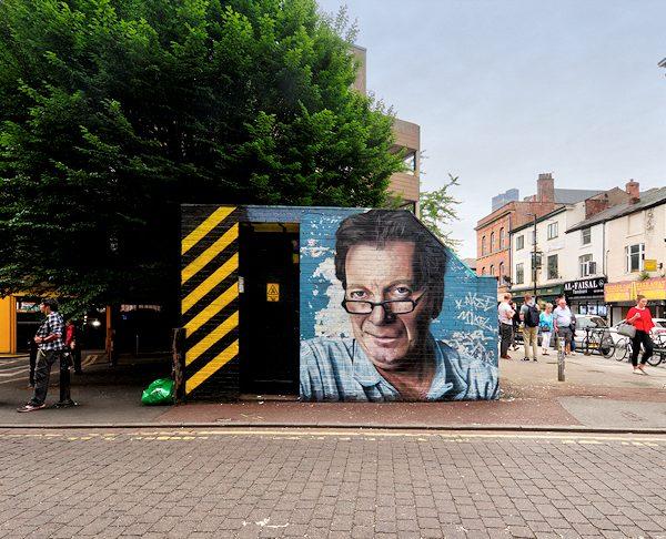 Mural of Tony Wilson artist Akse. Photo: David Dixon @ Geograph