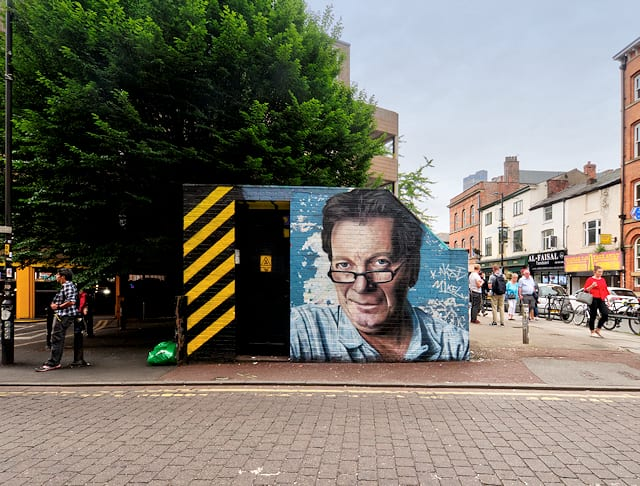 Mural of Tony Wilson artist Akse. Photo: David Dixon @ Geograph